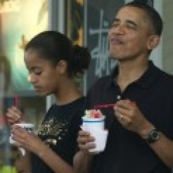 President  Obama and Malia Former Natives of Hawaii Eating  Shave Ice